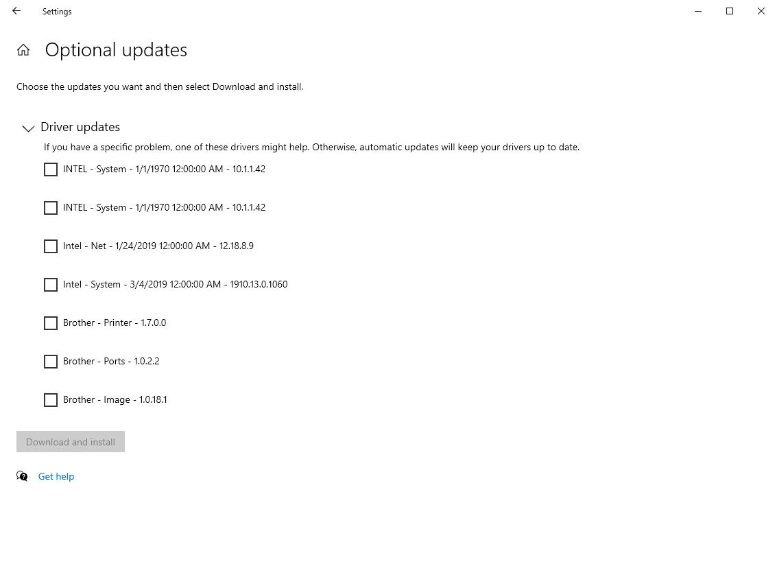 actualizaciones opcionales del controlador de windows 10
