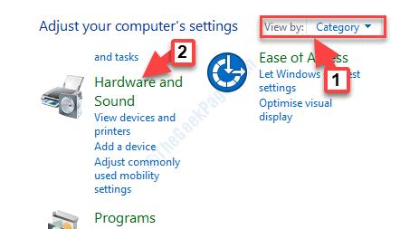 Panel de control Ver por categoría Hardware y sonido