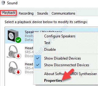 Reproducción de sonido Dispositivo de sonido Haga clic con el botón derecho del ratón en Propiedades