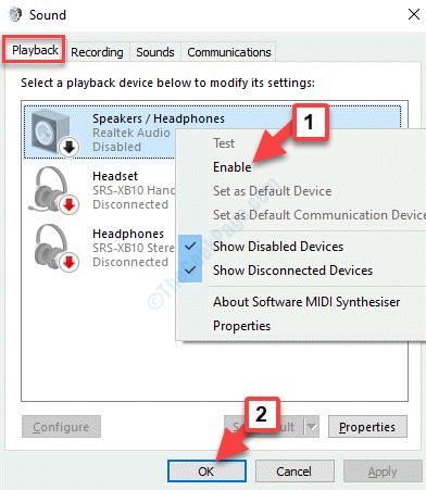 Dispositivo de reproducción de sonido Haga clic derecho para activar Ok
