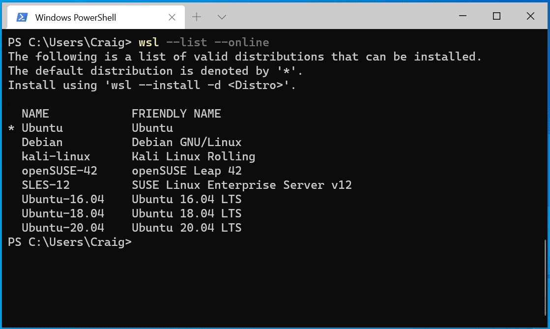 distribuciones del wsl linux