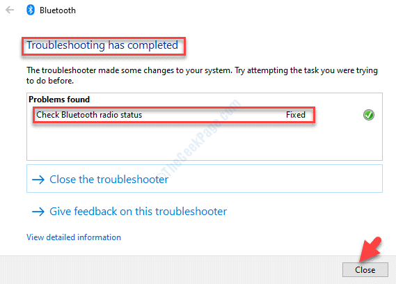 La solución de problemas de Bluetooth ha terminado de cerrarse