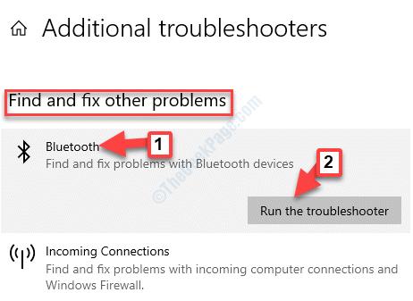 Solucionadores de problemas adicionales encuentran y arreglan otros problemas Bluetooth ejecuta el solucionador de problemas