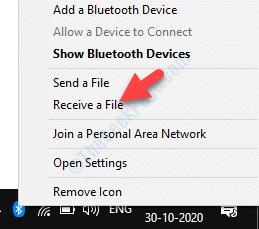 Barra de tareas Icono de Bluetooth Haga clic con el botón derecho del ratón para recibir un archivo