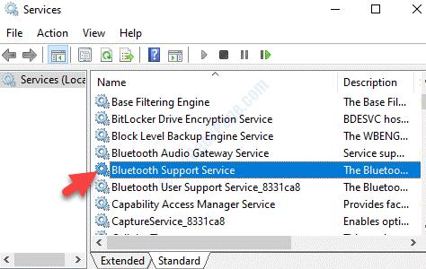 Nombre del servicio Servicio de soporte de Bluetooth