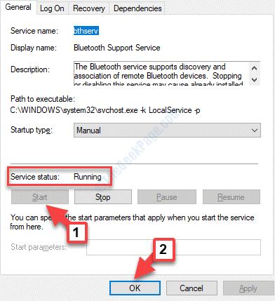 Propiedades de Bluetooth Estado de servicio general Inicio Ok