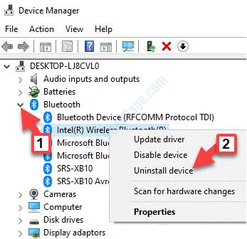 Administrador de dispositivos Adaptador Bluetooth Bluetooth Haga clic con el botón derecho del ratón en Desinstalar