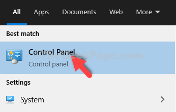 Iniciar la búsqueda Resultado del panel de control