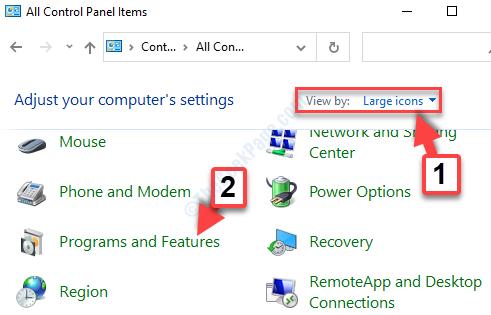 Vista del panel de control por grandes iconos Programas y características