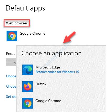 Navegador web de aplicaciones predeterminadas Elija una aplicación Seleccione el navegador como navegador predeterminado
