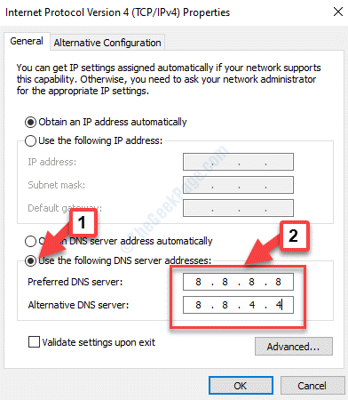 Propiedades Uso general Las siguientes direcciones del servidor Dns Marque Agregar servidor Dns preferido y alternativo