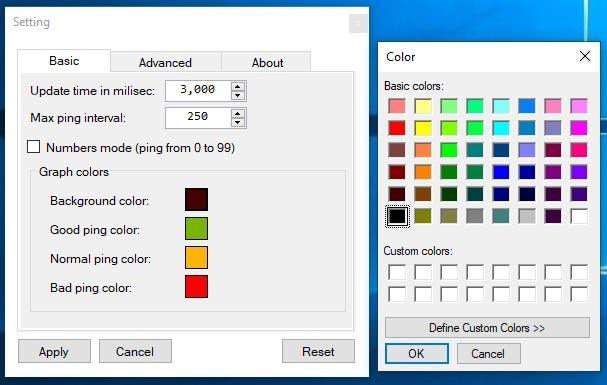 PingoMeter Cambiar el color del gráfico