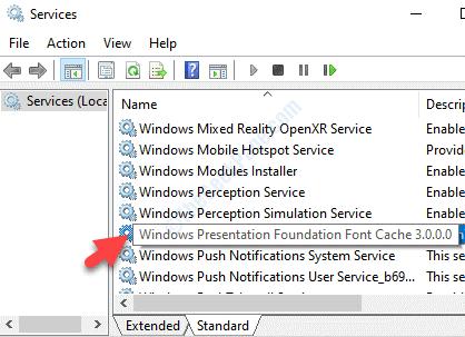 Nombre del servicio Windows Presentation Foundation Font Cache 3.0.0.0 Double Click
