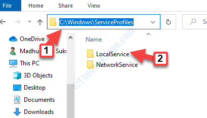 Explorador de archivos Win + E Navegar a Perfiles de Servicio Servicio Local