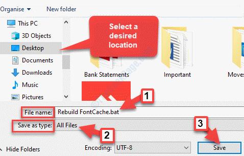Guardar como ubicación deseada Nombre del archivo Agregar .bat Guardar como Escribir Todos los archivos Guardar