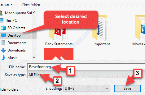 Seleccione la ubicación deseada Nombre del archivo Crear Nombre .reg Guardar como Tipo Todos los archivos Guardar
