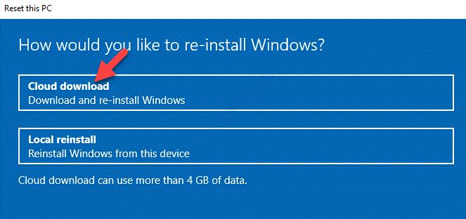 ¿Cómo te gustaría reinstalar la nube de Windows?