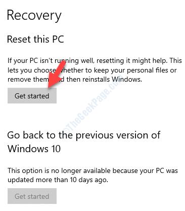Recuperación Reiniciar este PC Empezar