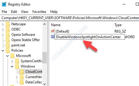 Nuevo valor de la palabra Dword Renombrar Deshabilitar Windowsspotlightonactioncenter