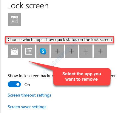 Pantalla de bloqueo Elija las aplicaciones que muestran el estado rápido en la pantalla de bloqueo Seleccione la aplicación