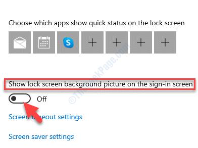 Bloquear la pantalla Mostrar la imagen de fondo de Windows en la pantalla de inicio de sesión Desactivar