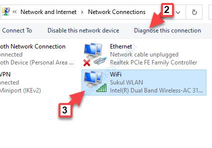 Conexiones de red Seleccionar Wifi Diagnosticar esta conexión