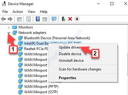 Administrador de dispositivos Adaptadores de red Adaptador inalámbrico Haga clic con el botón derecho del ratón para actualizar el controlador
