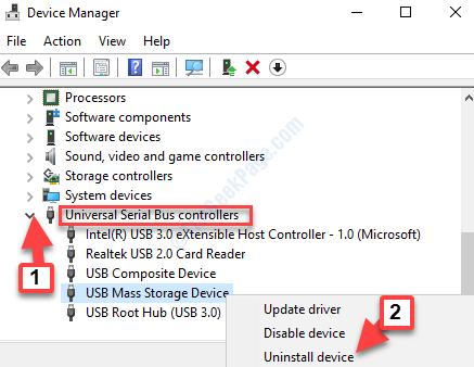 Administrador de dispositivos Controladores de bus serie universal Dispositivo de almacenamiento masivo Usb Desinstalar dispositivo