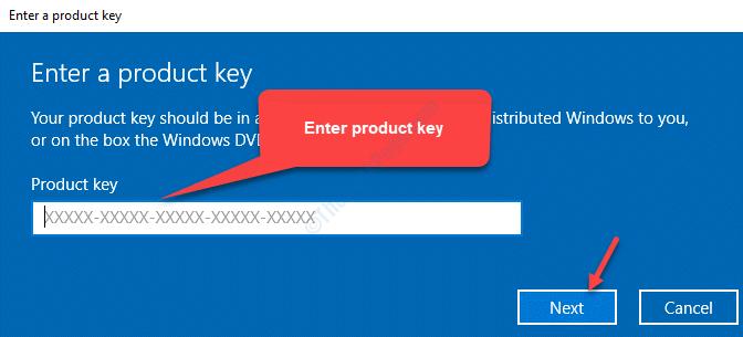 Introduzca la clave del producto Siguiente