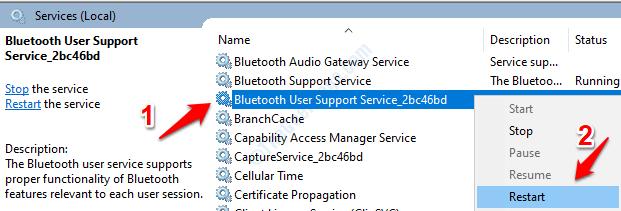 Reinicio del servicio Bluetooth