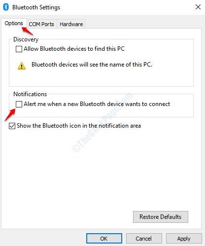 Alerta de desactivación de Bluetooth
