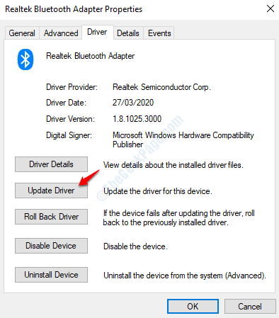Controlador de actualización de Bluetooth