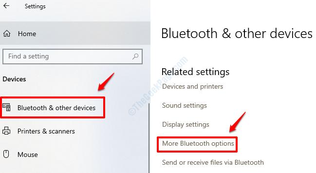 Ajustes Más opciones de Bluetooth