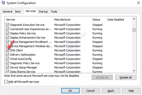 Servicios de Configuración del Sistema Dns Cliente Marque Aplicar Ok