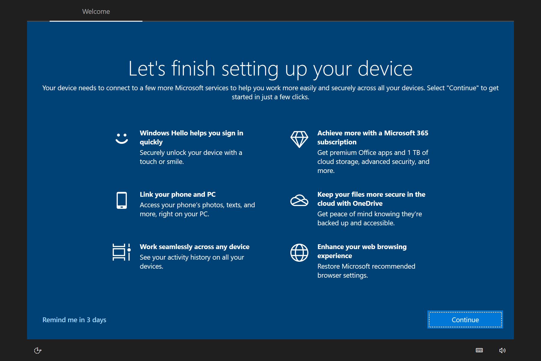 la experiencia de windows 10 out-of-box