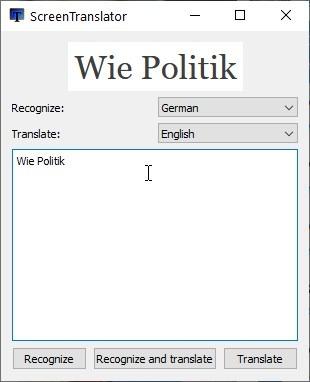 Cuadro de traducción emergente ScreenTranslator