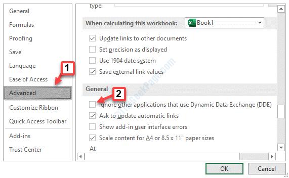 Opciones de Excel Avanzadas General Ignorar otras aplicaciones que utilizan el intercambio dinámico de datos (dde) Desmarque Aceptar