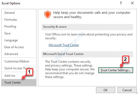 Opciones de Excel Centro de confianza Configuración del Centro de confianza