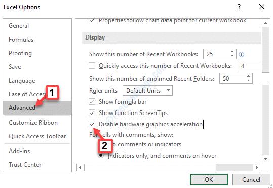 Opciones de Excel Pantalla avanzada Desactivar hardware Aceleración de gráficos Marcar Ok