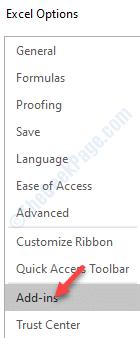 Opciones de Excel Complementos del lado izquierdo