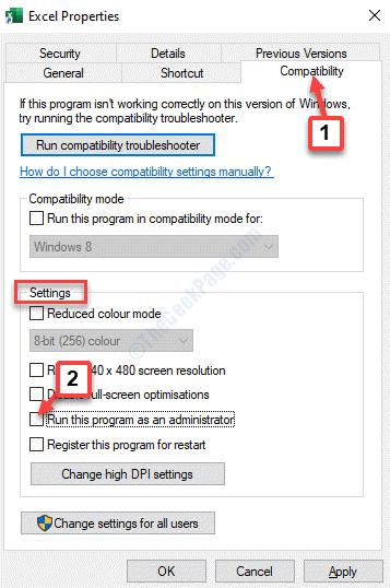 Configuración de compatibilidad de propiedades de Excel Ejecute este programa como administrador Desmarque Aplicar Aceptar