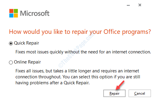 Reparación de reparación rápida de Microsoft