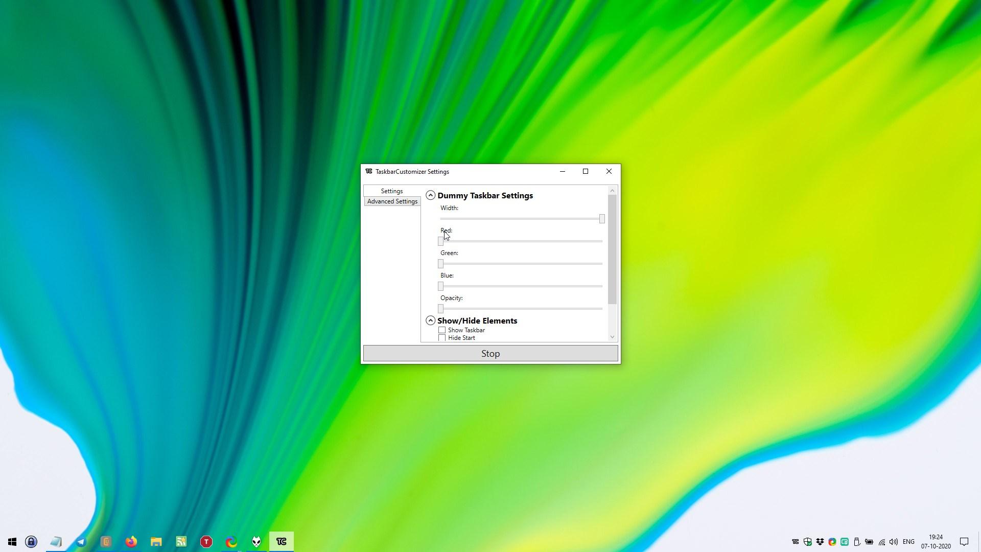 Barra de tareas Ancho de configuración del personalizador