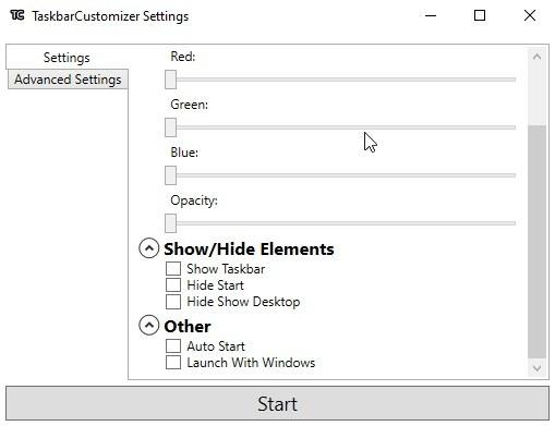 Barra de tareas Configuración del personalizador