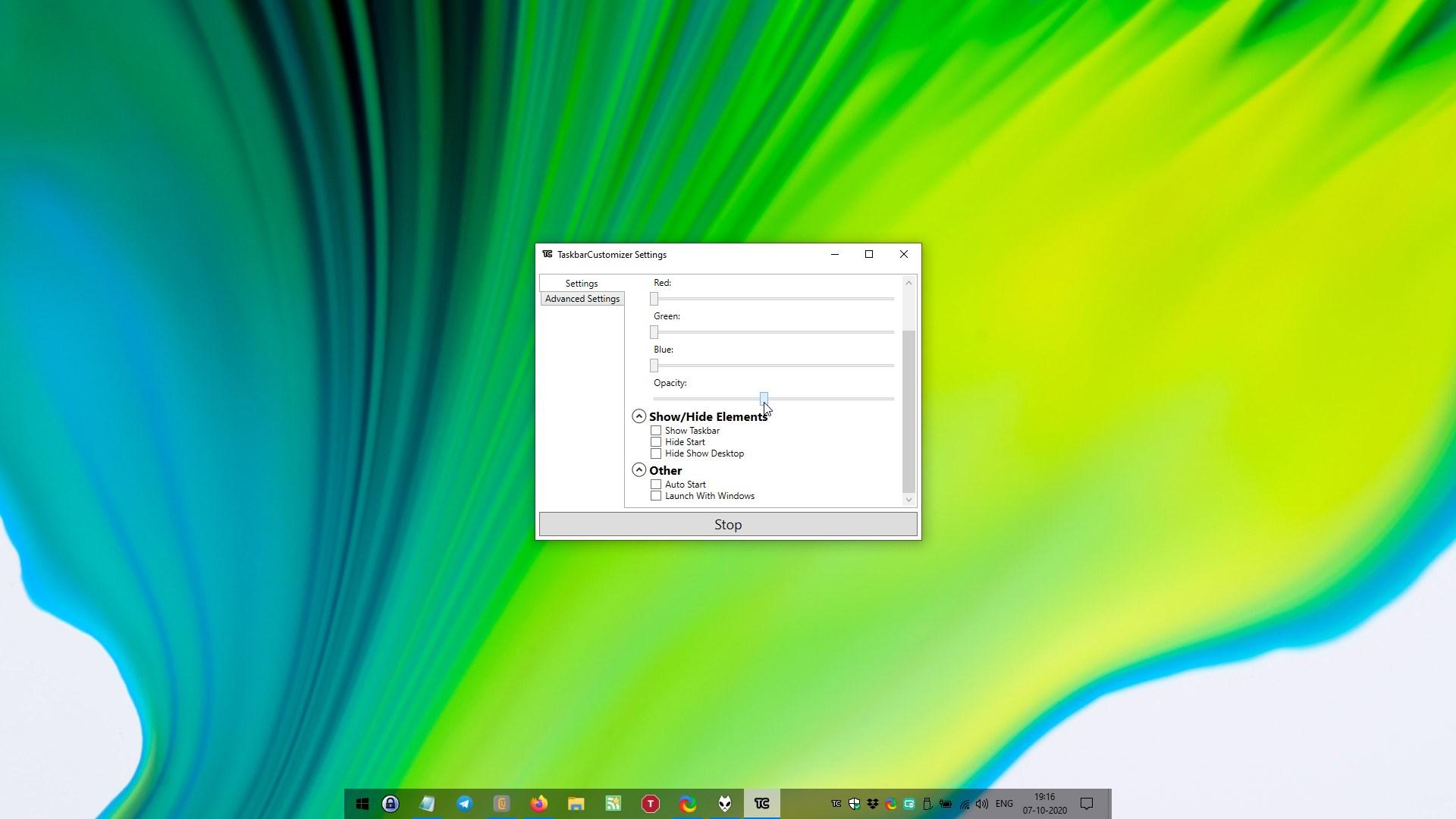 Opacidad de la configuración del personalizador de la barra de tareas