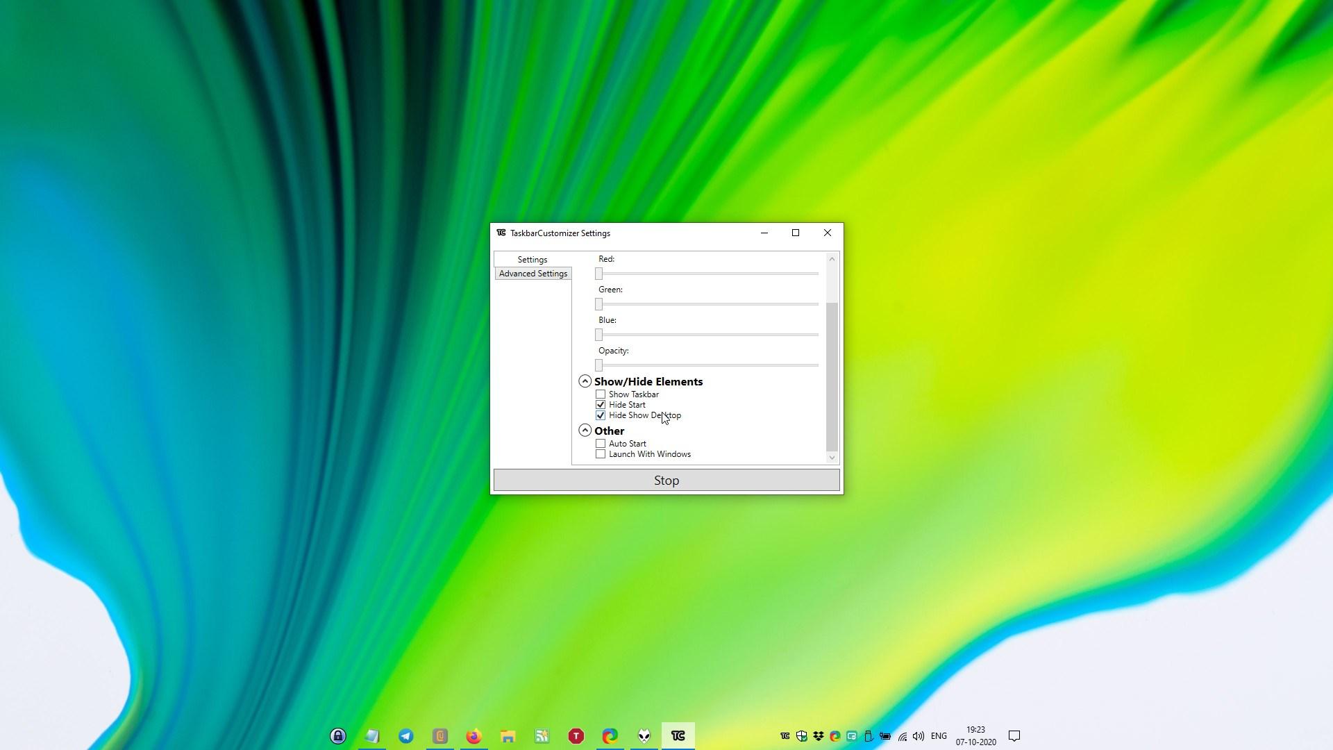 Barra de tareas La configuración del personalizador oculta el inicio y muestra el escritorio