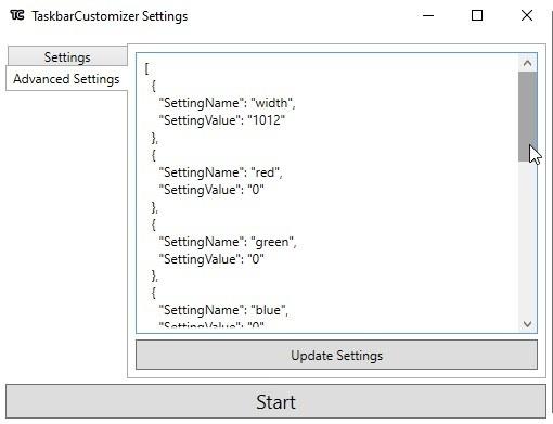 Configuración avanzada del personalizador de la barra de tareas