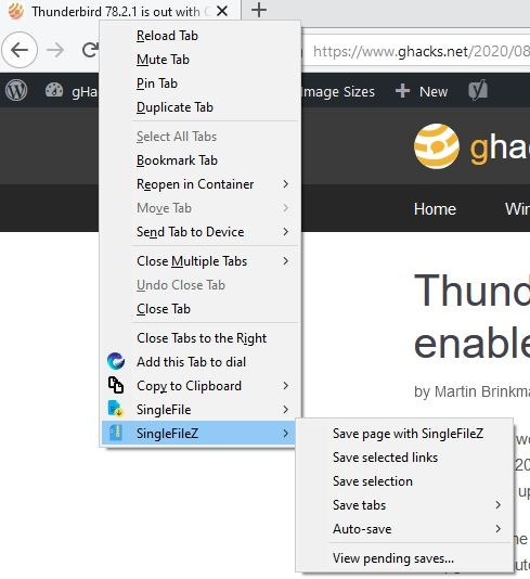 SingleFileZ is a fork of the SingleFile Firefox and Chrome extension, but with better file compression