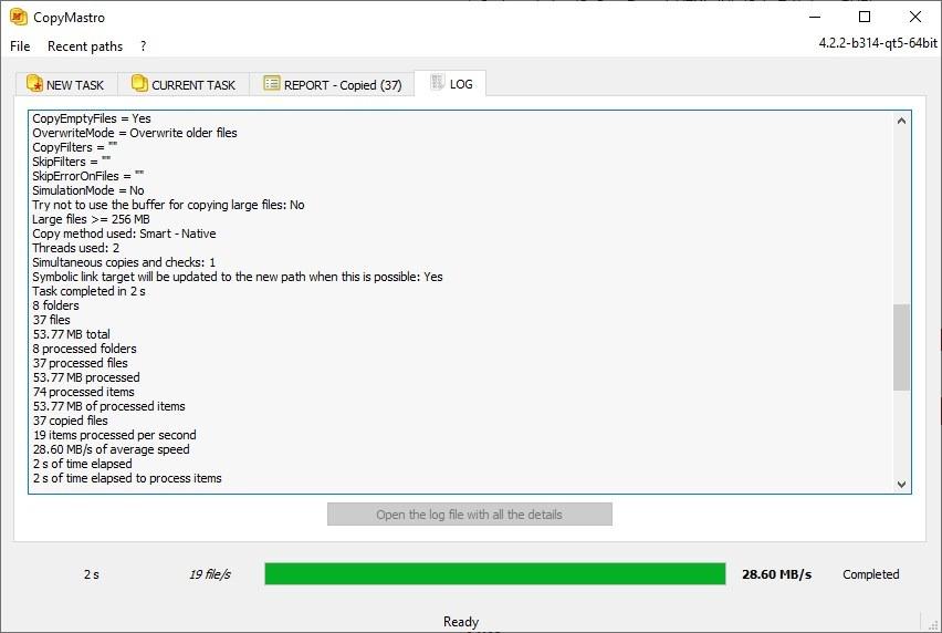 Registro de tareas de CopyMastro