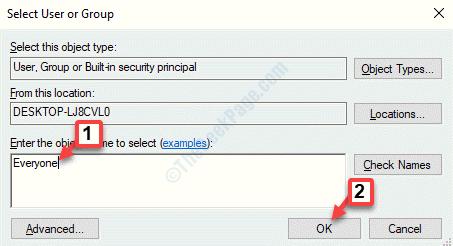 Seleccionar usuario o grupo Ingrese el nombre del objeto para seleccionar a todos Ok